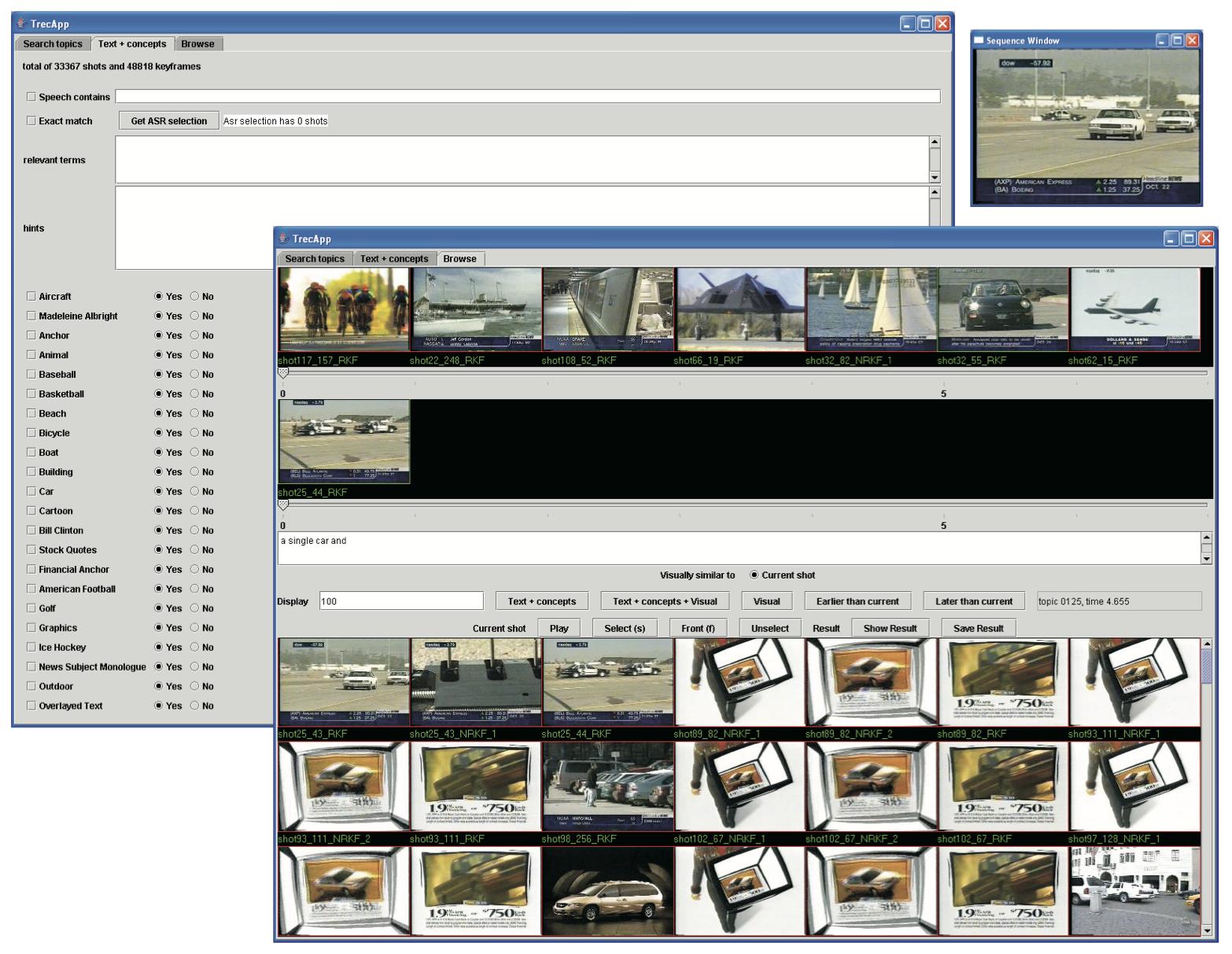 The MediaMill TRECVID 2004 Semantic Video Search Engine